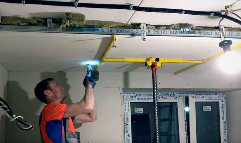 крепление облицовки шумоизоляции потолка