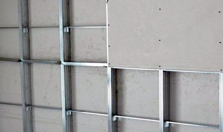 обшивка стены гипсокартоном на профиле